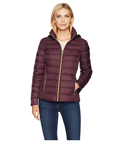 Michael Michael Kors Women's Zip Front Packable with Removable Hood M823157G Eggplant Medium ()