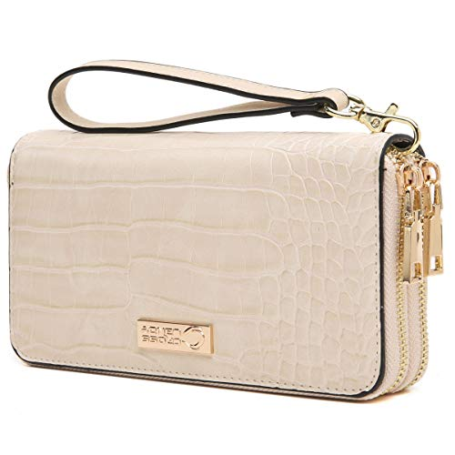 - CrossLandy Women RFID Blocking Double Zip Around Wallet Leather Clutch Wristlet