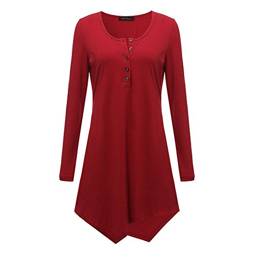 2017 Spring Autumn Casual Black Gray Button Irregular Hem Tops Shirt Dress Wine RedS