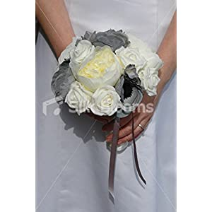 Ivory & Grey Bridesmaids Bouquet with Roses Peonies & Anemones 8