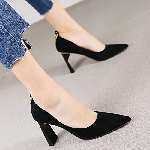 Negro Tacones Color De Hrcxue La Zapatos Mujer Rojo 36 Vintage Calzado Con Corte Arena Salvaje Profesional wYqZY4v