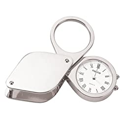 Natico Solid Brass Chrome Plated Travel Alarm Clockwith Magnifier and Genuine Leather Case (10-875S)
