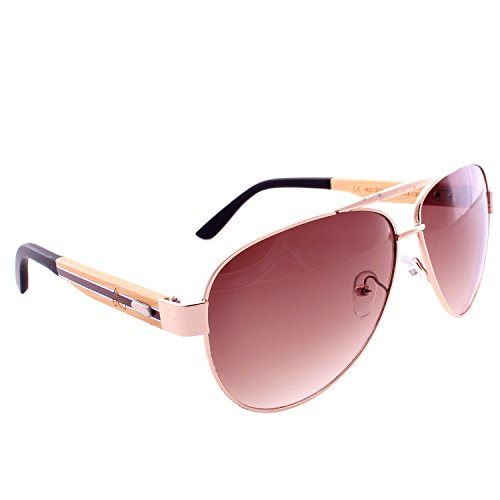 Classic Aviator Sunglasses w/ Hand Polished Wooden Legs - Gold Frame / Brown - Urban Sunglasses