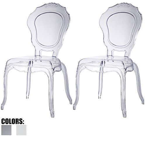 2xhome - Set of Two (2) - Belle Style Ghost Side Chairs Dining Room Chair - Clear Accent Seat - Lounge No Arm Arms Armless Less Chairs Seats Higher Fine Modern Designer Artistic