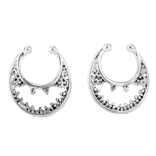 Refaxi 2pcs Fake Septum Non-Piercing Nose Rings Hanger Clip On Body Jewelry Silver Tone by ReFaXi