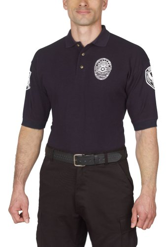 Security Polo Shirt Deluxe 100% Cotton Pre-shrunk Navy Blue with White Letters (M)