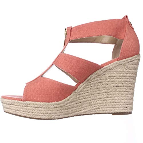 MICHAEL Michael Kors Womens Damita Canvas Open Toe, Pink Grapefruit, Size 8.5