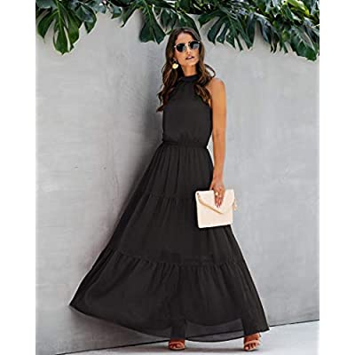 Women's Casual Backless Loose Ruffle Sundress Halter Neck Sleeveless Floral Long Maxi Dress with Belt at Women's Clothing store