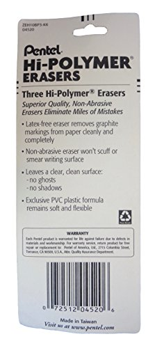 Bulk Buy: Pentel Hi-Polymer Erasers, (3)/Pkg, Pack of (6) - Total (18) Erasers by Pentel (Image #2)