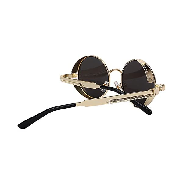 9c6b6ee8e69f9 Steampunk Retro Gothic Vintage Colored Metal Round Circle Frame Sunglasses  Colored Lens OWL