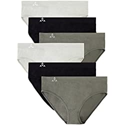 Balanced Tech Women's Seamless Bikini Panties 6-Pack - Grey/Charcoal/Black - Large