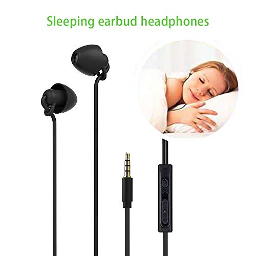 Sleeping Earbud Headphones - Ultra Flexible Silicon Earplugs Noise Cancelling Wired Sleep Earphones with Microphone for Sleeping, Insomnia, Snoring, Air Travel, Relaxation, ASMR (Black)
