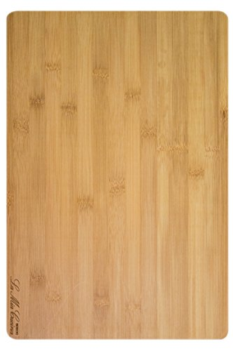 Extra Large Bamboo Wood Cutting Board - Best for Chopping & Carving Cheese, Meat, Bread - Design by La Mia Cucina
