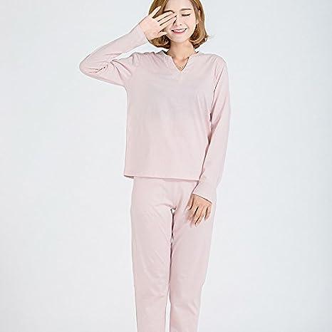 XBR-Pijamas de algodón Ropa de algodón Fino hogar Todo Ocio casa señoras Ropa de Puro algodón Pijama de Manga Larga,Rosa,M: Amazon.es: Deportes y aire libre