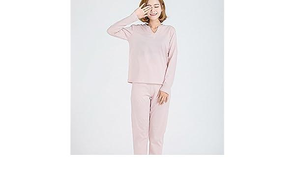 XBR Todos los pijamas de algodón Ropa de algodón fino hogar todo ocio casa señoras ropa de puro algodón pijama de manga larga,Rosa,L: Amazon.es: Deportes y ...
