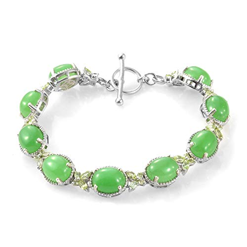 Old Green Jade Bracelet Bangle - 925 Sterling Silver Platinum Plated Oval Dyed Color Green Jade Peridot Bracelet For Women 7.25