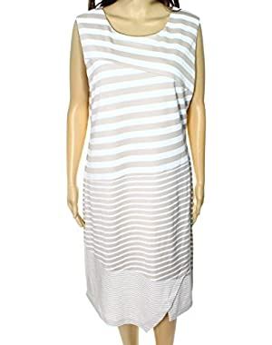 Calvin Klein White Womens Striped Sheath Dress Beige 14