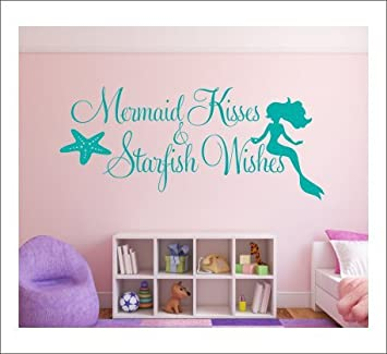 Wall Decal Quotes Inspirations Sea Maid Kisses Starfish Wishes Bedroom Wall  Stickers For Girls Dorm