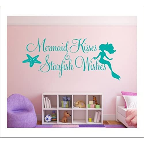 mermaid bedroom decor. Wall Decal Quotes Inspirations Sea maid Kisses Starfish Wishes Bedroom  Stickers for Girls Dorm Mermaid Decor Amazon com