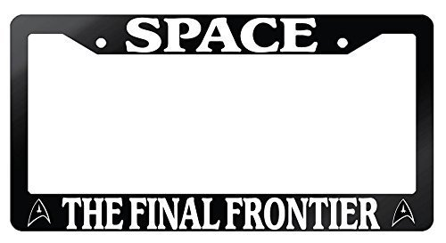 Jesspad - Space The Final Frontier Glossy Black License Plate Frame Star Trek, Auto License Plate Holder -