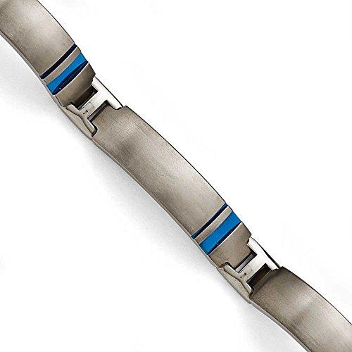 Ti-Gris titane brossé et poli Bracelet bleu anodisé - 20 cm-JewelryWeb
