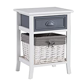 CARO-Möbel Nachttisch Florenz in weiß, Shabby Chic Vintage Look, mit Schublade und Korb
