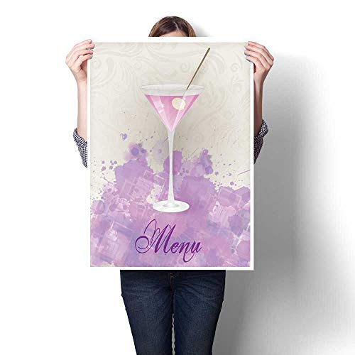 Anshesix Canvas Painting Sticker Martini menu on Abstract Background Print On Canvas for Wall Decor 32