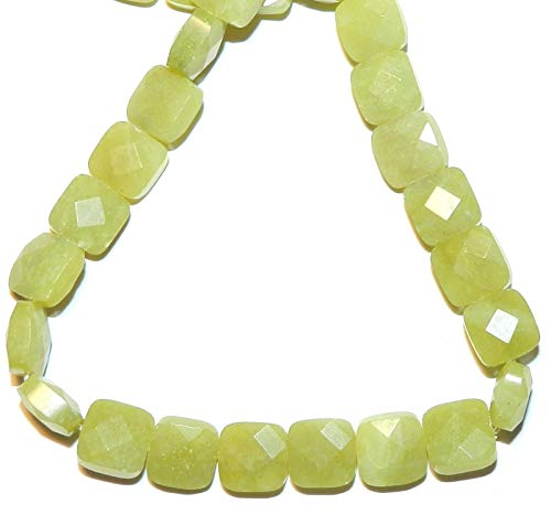Bead Jewelry Making Olive New Jade 10mm Flat Faceted Square Serpentine Gemstone Beads 15