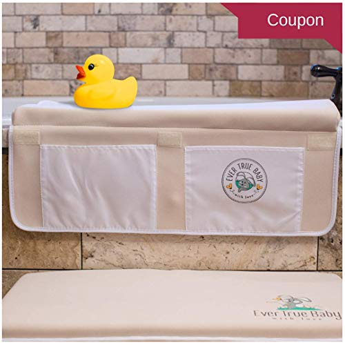 Baby Bath Kneeler Pad and Elbow Rest Set- Knee Mat for the Bathtub and Shower with Toy and Accessories Caddy-Extra Large Cushion w/ Non Slip Rubber Floor Mat-Storage for Toys and Soap by EverTrue Baby