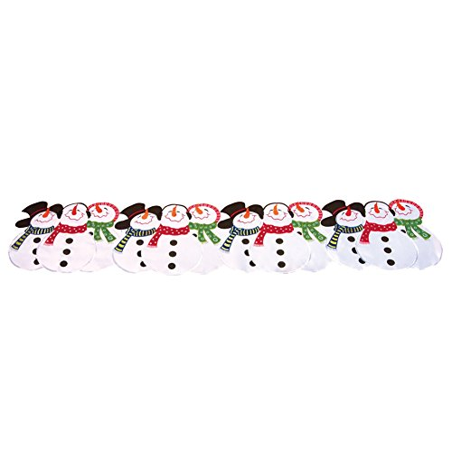 Embroidered Snowman Winter Table Runner