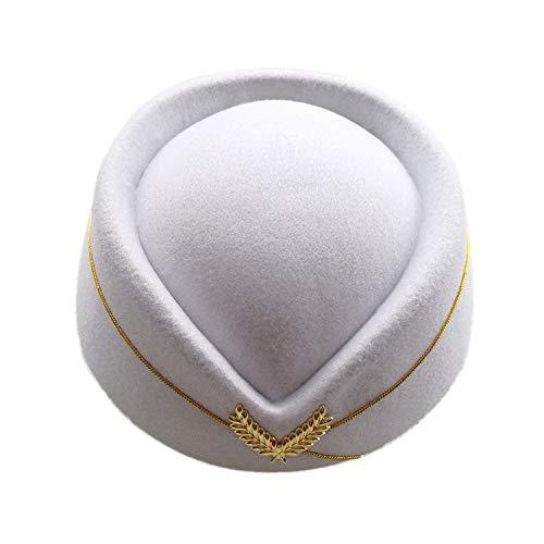 HiiWorld Wool Felt Pillbox Air Hostesses Beret Hat Base Cap Airline Stewardess Formal Uniform Hat Caps