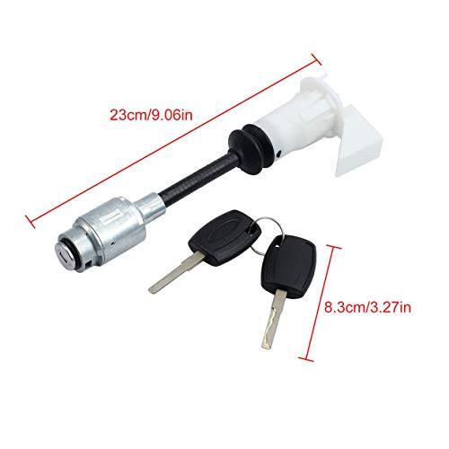 ESYNiC Set di Riparazione Blocco Sblocco Cofano con 2 Chiavi Bonnet Hood Release Lock Assembled Anteriore per Ford Focus MK2 2004-2012 4556337 Tipo Corto Bianco 23cm//9.06in