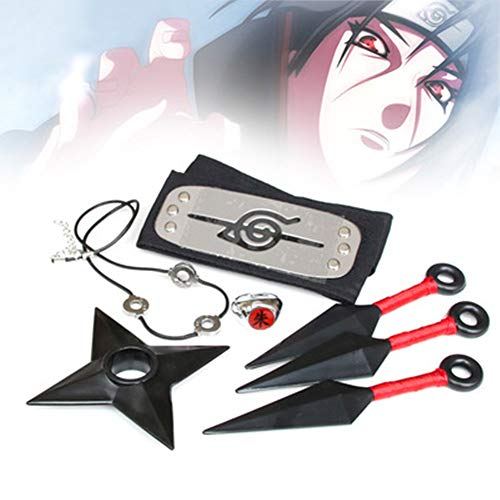 JUZIPI 5pcs Ninja Costume Include Headband Nacklace Ring and Armys for Cosplay ()