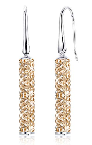 Kesaplan Cylinder Dangle Crystals Earrings for Women Sterling Silver Post Drop Earrings Hypoallergenic, Crystals from Swarovski, Gift for Christmas Crystal Drop Post Earrings