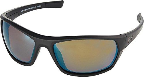 (Under Armour Wrap Sunglasses, UA POWERBRAKE Satin Black/Shoreline Polarized, M/L)