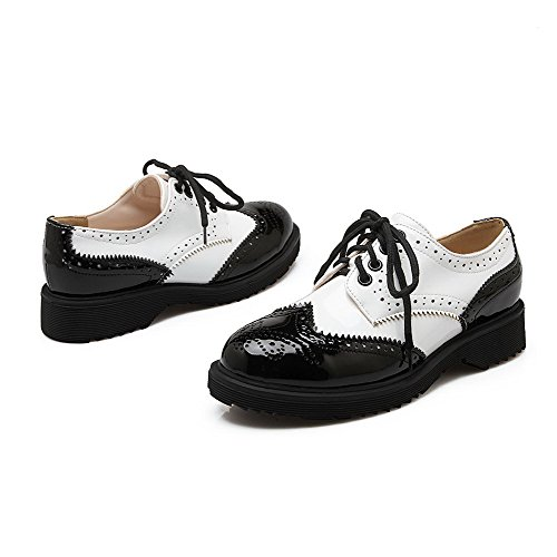Odomolor Women's Patent Leather Lace up Round Closed Toe Low Heels Assorted Color Pumps-Shoes Black s61xM