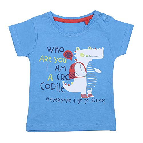 YUV Baby Boys & Girls Printed T-Shirt (Pack of 5) with Shoulder Poppers for 0 to 24 Months