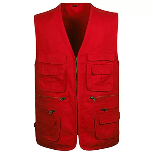 Jade Hare Men's Summer Casual Outdoor Work Multi-Function Pockets Fishing Photo Journalist Cotton Vest (Red Zip, Small)