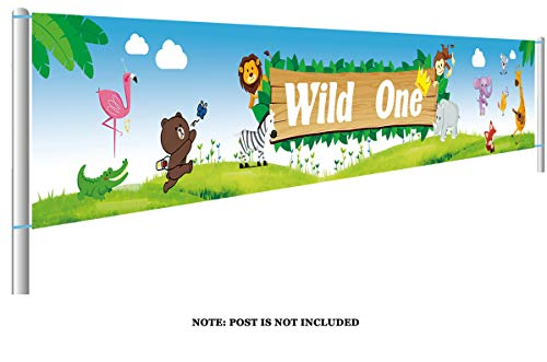 Colormoon Large Safari Animal Wild One Birthday Banner