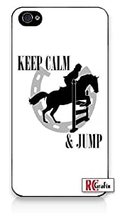Keep Calm And Jump Horse Equestrian For SamSung Galaxy S5 Case Cover Quality Hard Snap On For SamSung Galaxy S5 Case Cover /5C - AT&T Sprint Verizon - White Case