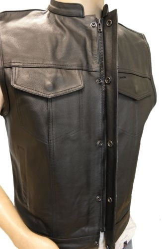 MEN'S SONS OF ANARCHY LEATHER VEST WITH 2 GUN 2 CHEST POCKETS SINGLE BACK PANEL (XL, BLACK)]()