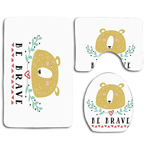 NEWcoco Be Brave Message with a Bear Green Leaves Heart and Triangles Doodle for Nursery