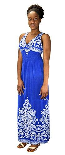 peach couture Womens Paisley Print Smocked Waist Surplice Bodice Tank Maxi Dress Damask Blue Small Paisley Print Silk Dress