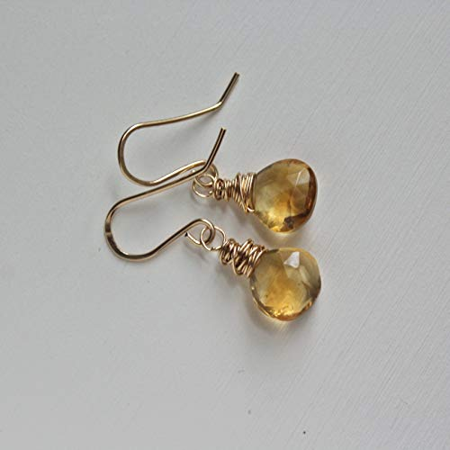 (Citrine Small Gemstone Earrings Gold Filled Drops For Women November Birthstone Jewelry Gift)