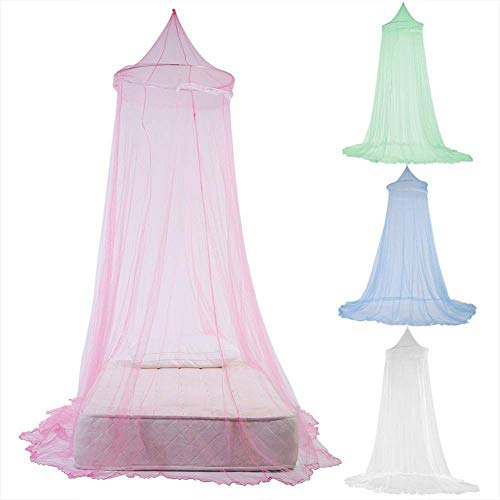 (Sanwish Dome Lace Mosquito Net Bed Canopy Netting Double King Size Fly Insect Protection, Baby Princess Canopy Crib Netting Dome Bed Mosquito Net for Nursery (Pink))