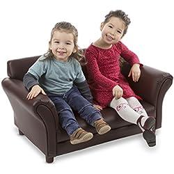 Melissa & Doug Child's Sofa - Coffee Faux Leather Children's Furniture - Amazon Exclusive