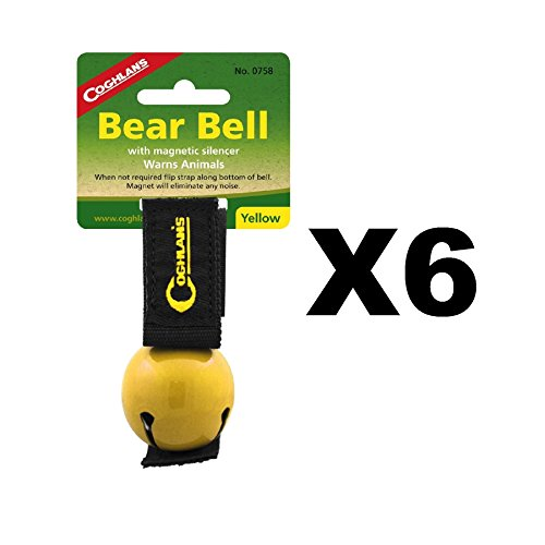 Coghlan's Bear Bell Yellow w/Magnetic Silencer Warns Animals Hiking (6-Pack) by Coghlan's