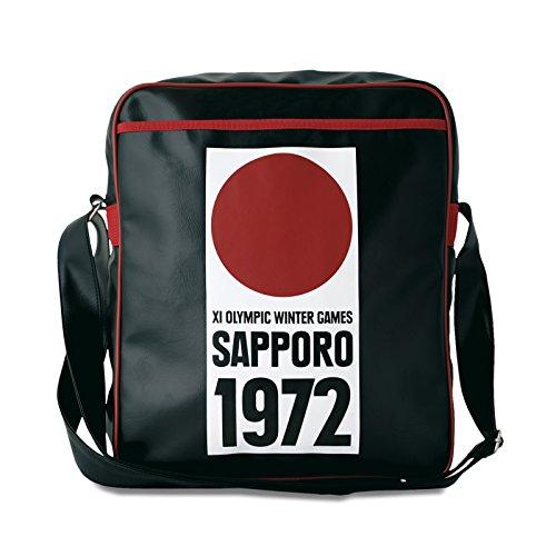 Sapporo 1972 Umhängetasche Tasche im Retro Look mit Logo lizenziert mit Metallstollen, hochwertige Qualität schwarz