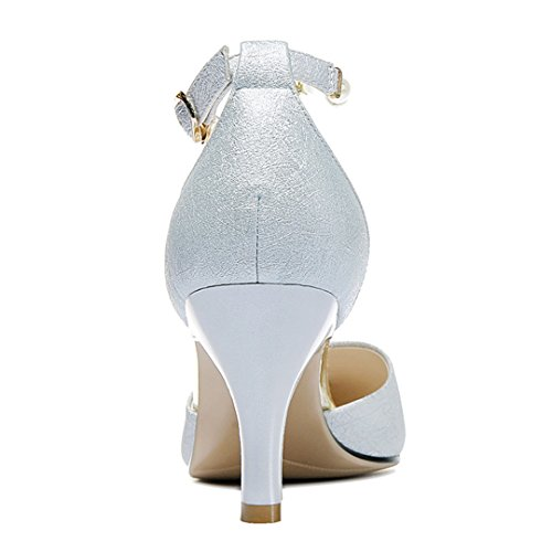 Pump Toe Blue MAC Dress Leather Strap Pumps Light Womens PU Pumps Stiletto Shoes D'Orsay Pointed U Ankle Heel High wvxqdBUYB