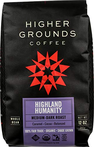 Higher Grounds Coffee – Fair Trade – USDA Organic – Shade Grown Whole Bean Coffee – Highland Humanity Blend -12 Ounces